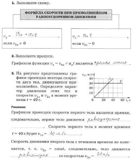 § 6. Скорость прямолинейного равноускоренного движения. График скорости
